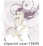 Pretty Woman With Long Hair Looking Off Into The Distance Over A Background Of Swirls Clipart Illustration