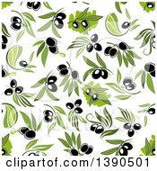 Clipart Of A Seamless Background Pattern Of Black Olives Royalty Free Vector Illustration