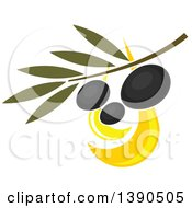Clipart Of A Branch With Black Olives Royalty Free Vector Illustration