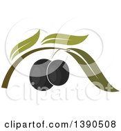 Clipart Of Black Olives And Leaves Royalty Free Vector Illustration