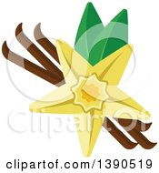 Clipart Of A Culinary Spice Herb Vanilla Royalty Free Vector Illustration