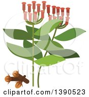 Clipart Of A Culinary Spice Herb Cloves Royalty Free Vector Illustration