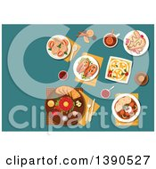 Clipart Of Traditional Czech Steak Tartare Served On Plate With Raw Egg Yolk Toasted Bread And Condiments And Sirloin With Dumplings Pickled Sausages With Pickles And Spicy Fried Bread Strawberry Dumplings And Pancakes Filled With Fruits Beer Bottle