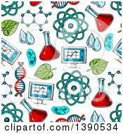 Clipart Of A Seamless Background Pattern Of Sketched Science Items Royalty Free Vector Illustration by Vector Tradition SM