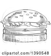 Clipart Of A Gray Sketched Hamburger Royalty Free Vector Illustration