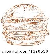 Clipart Of A Brown Sketched Hamburger Royalty Free Vector Illustration
