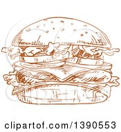 Clipart Of A Brown Sketched Hamburger With Cheese Royalty Free Vector Illustration