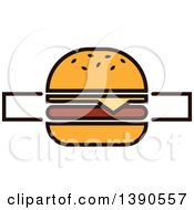 Clipart Of A Cheeseburger With Text Space Royalty Free Vector Illustration