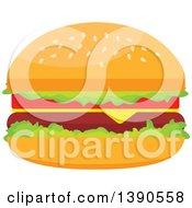 Clipart Of A Cheeseburger Royalty Free Vector Illustration