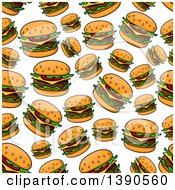 Clipart Of A Seamless Background Pattern Of Cheeseburgers Royalty Free Vector Illustration