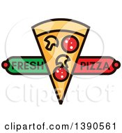 Clipart Of A Slice Of Pizza With Text Royalty Free Vector Illustration