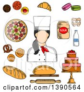 Clipart Of A Sketched Female Baker With Goods Royalty Free Vector Illustration by Vector Tradition SM