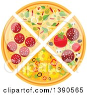 Clipart Of A Divided Pizza Royalty Free Vector Illustration