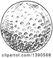 Clipart Of A Gray Sketched Golf Ball Royalty Free Vector Illustration by Vector Tradition SM