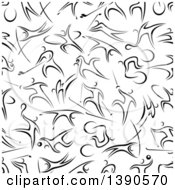 Seamless Background Pattern Of Black And White Athletic People