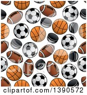 Seamless Background Pattern Of Sports Balls And Pucks