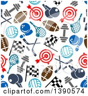 Poster, Art Print Of Seamless Background Pattern Of Sports Equipment