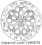 Clipart Of A Gray Sketched Dartboard Royalty Free Vector Illustration
