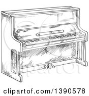 Clipart Of A Sketched Piano Royalty Free Vector Illustration by Vector Tradition SM