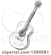 Clipart Of A Sketched Guitar Royalty Free Vector Illustration