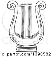 Clipart Of A Sketched Lyre Royalty Free Vector Illustration