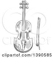 Clipart Of A Sketched Violin Or Viola Royalty Free Vector Illustration