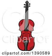 Clipart Of A Sketched Violin Royalty Free Vector Illustration by Seamartini Graphics