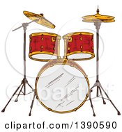 Clipart Of A Sketched Drum Set Royalty Free Vector Illustration