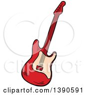 Clipart Of A Sketched Guitar Royalty Free Vector Illustration by Vector Tradition SM