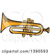 Clipart Of A Sketched Trumpet Royalty Free Vector Illustration by Vector Tradition SM