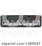 Clipart Of A Sketched Music Keyboard Royalty Free Vector Illustration