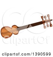 Clipart Of A Sketched Sarod Royalty Free Vector Illustration