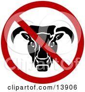 No Bull Sign Clipart Illustration