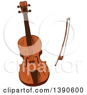 Clipart Of A Sketched Violin And Bow Royalty Free Vector Illustration by Vector Tradition SM
