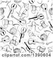 Clipart Of A Seamless Background Pattern Of Black And White Instruments Royalty Free Vector Illustration by Seamartini Graphics