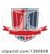 Clipart Of A College Or University Design Of A Book With A Pencil And Paintbrush In A Shield Royalty Free Vector Illustration by Vector Tradition SM