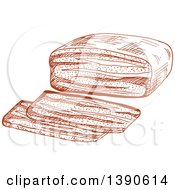 Clipart Of A Sketched Beef Tenderloin Roast Royalty Free Vector Illustration
