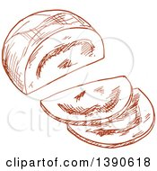Clipart Of A Sketched Meatloaf Royalty Free Vector Illustration