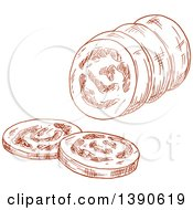 Clipart Of A Sketched Sausage Royalty Free Vector Illustration
