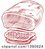 Clipart Of A Sketched Tenderloin Roast Royalty Free Vector Illustration