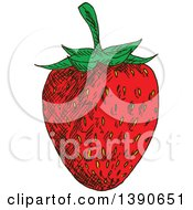 Clipart Of A Sketched Strawberry Royalty Free Vector Illustration by Vector Tradition SM