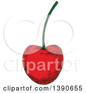 Clipart Of A Sketched Cherry Royalty Free Vector Illustration by Vector Tradition SM