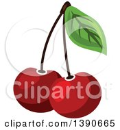 Clipart Of Cherries Royalty Free Vector Illustration by Vector Tradition SM