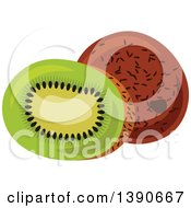 Clipart Of A Kiwi Fruit Royalty Free Vector Illustration