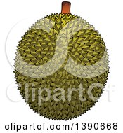 Clipart Of A Durian Fruit Royalty Free Vector Illustration