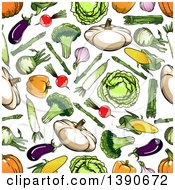 Seamless Background Pattern Of Vegetables