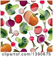 Clipart Of A Seamless Background Of Veggies Royalty Free Vector Illustration