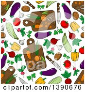 Clipart Of A Seamless Background Pattern Of Vegetables And Cutting Boards Royalty Free Vector Illustration