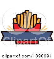 Clipart Of A Carton Of French Fries With Text Space Royalty Free Vector Illustration