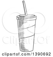 Clipart Of A Gray Sketched Fountain Soda Royalty Free Vector Illustration